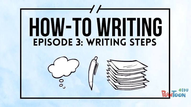 Still image from: How-To Writing: Writing Steps (Episode 3)