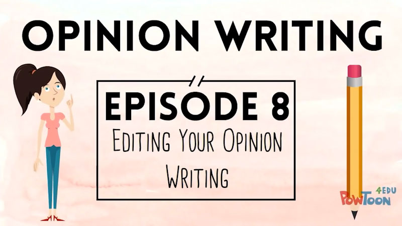 Still image from: Opinion Writing for Kids: Editing Your Writing (Episode 8)
