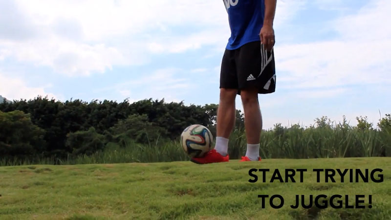 Still image from: How to Juggle a Soccer Ball: Tutorial for Beginners (Part 3)