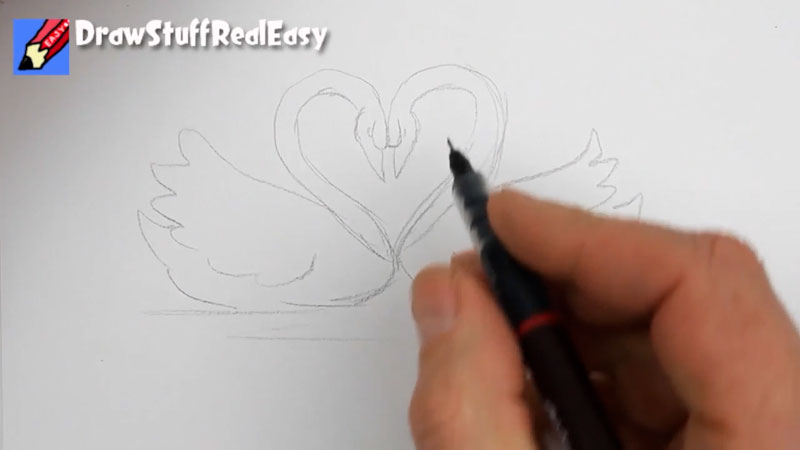 Still image from: How to Draw Swans of Love! Real Easy