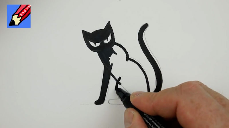 Still image from: How to Draw a Black Cat for Halloween Real Easy