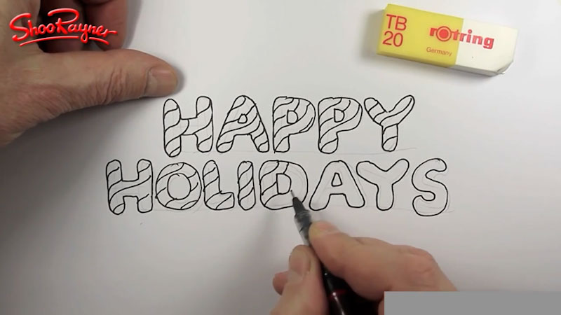 """Still image from: How to Draw """"Happy Holidays"""" in Candy Cane Lettering"""