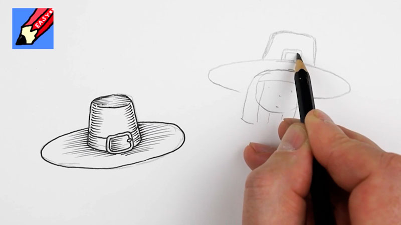 Still image from: How to Draw a Pilgrim Wearing a Hat