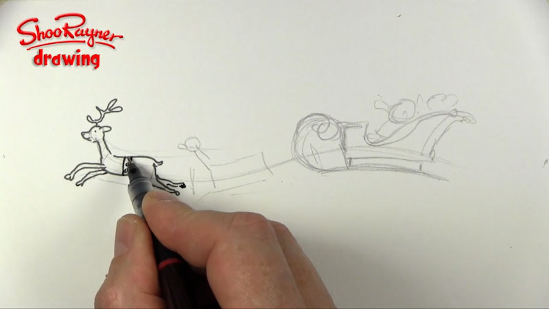 Still image from: How to Draw Santa and His Sleigh