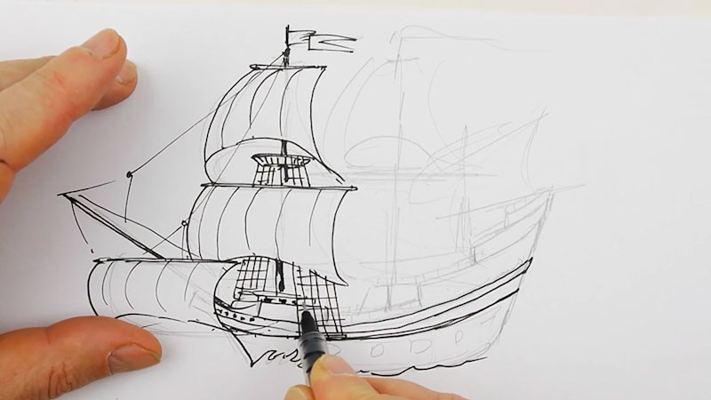 Still image from: How to Draw the Mayflower