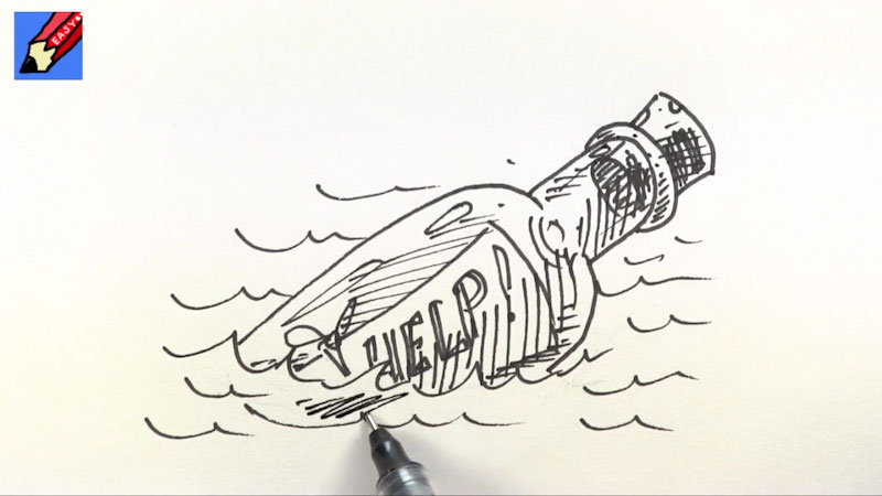 Still image from: How to Draw a Message in a Bottle Real Easy