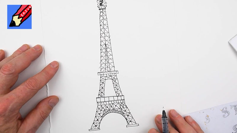 Still image from: How to Draw the Eiffel Tower Real Easy