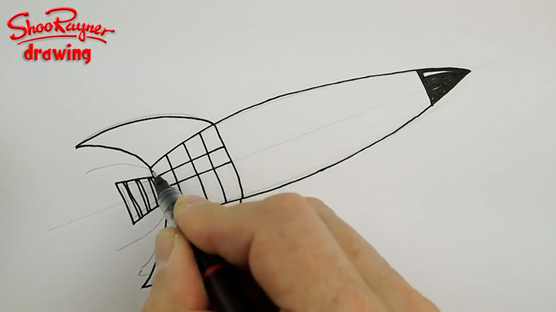 Still image from: How to Draw a Retro Space Rocket