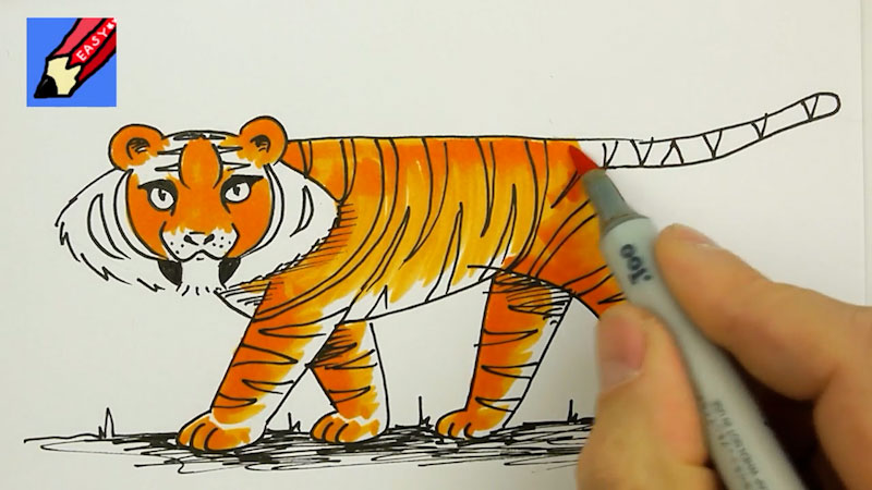 Still image from: How to Paint a Tiger Real Easy