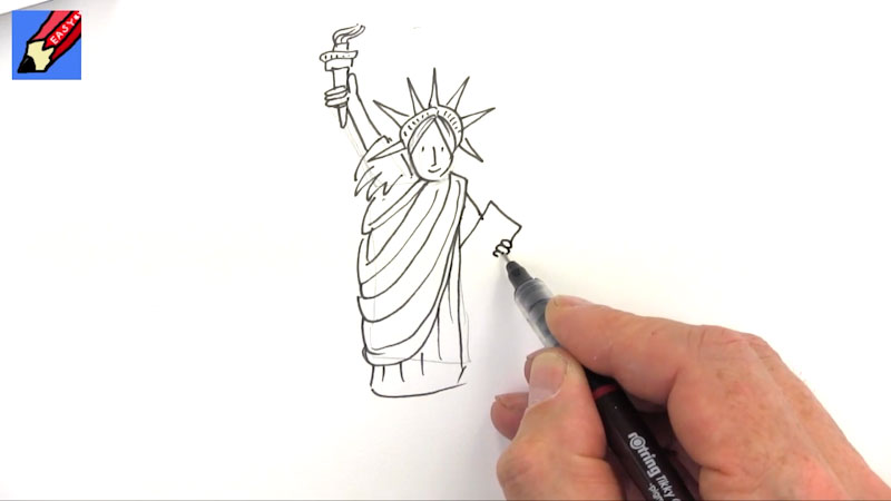 Still image from: How to Draw the Statue of Liberty Real Easy