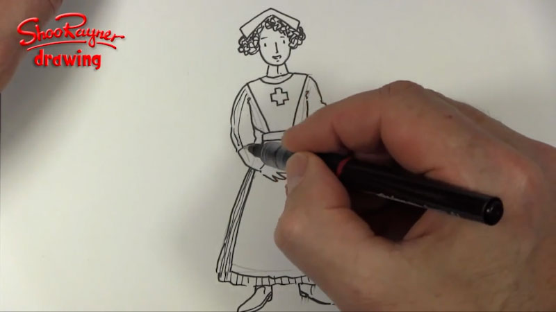 Still image from: How to Draw a WWI Nurse