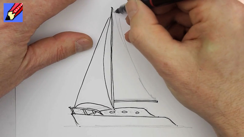 Still image from: How to Draw a Sail Boat Real Easy