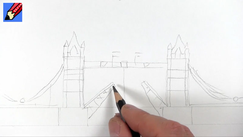 Still image from: How to Draw London's Tower Bridge Real Easy