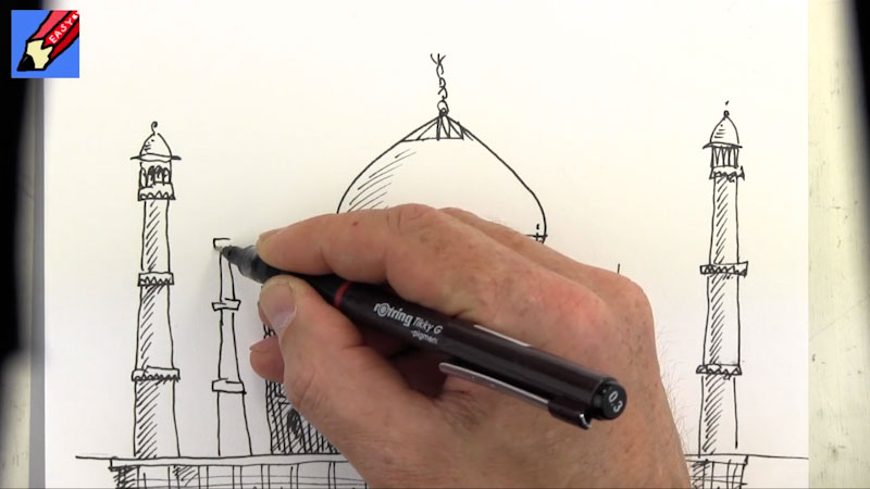 Still image from: How to Draw the Taj Mahal Real Easy