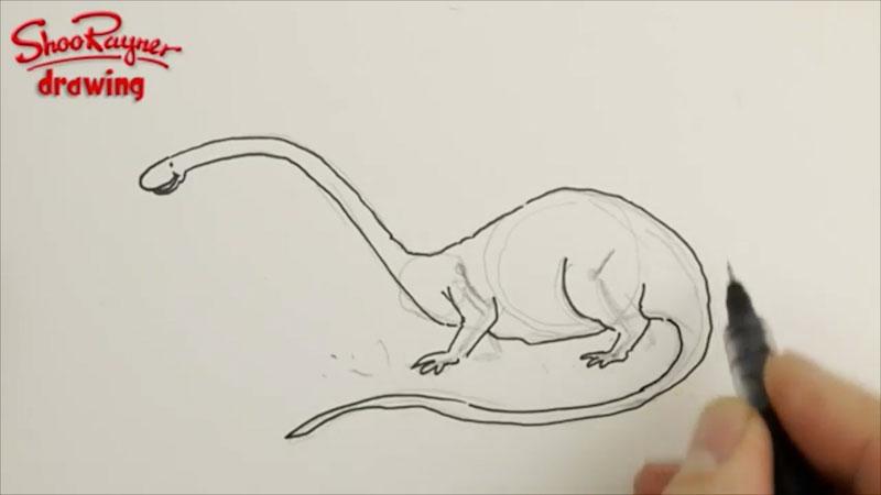 Still image from: How to Draw a Cartoon Dinosaur (Brontosaurus)