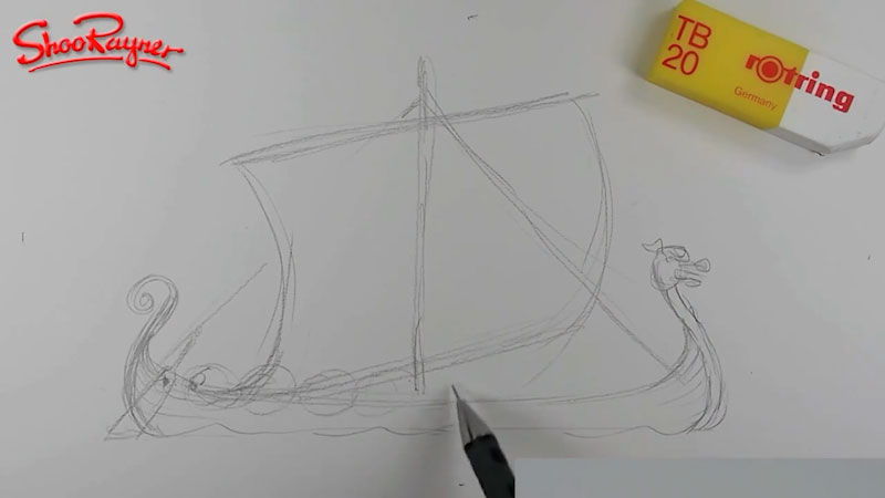Still image from: How to Draw a Viking Longship