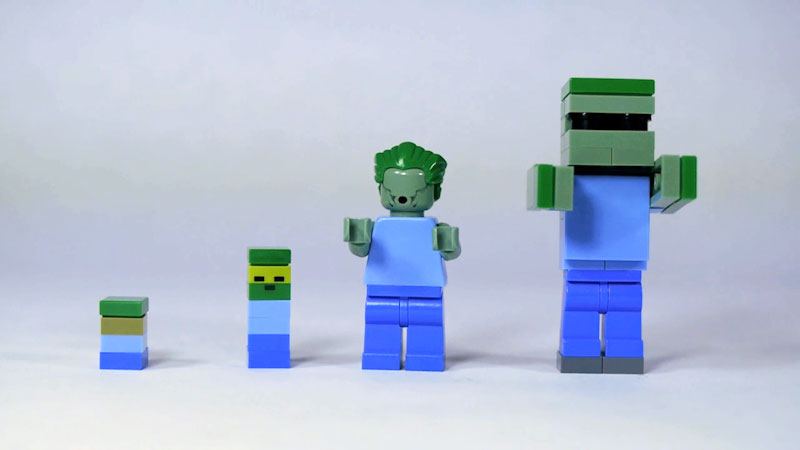 Still image from: How to Build LEGO Minecraft Zombie