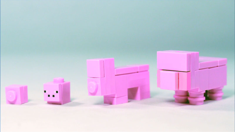 Still image from: How to Build LEGO Minecraft Pig
