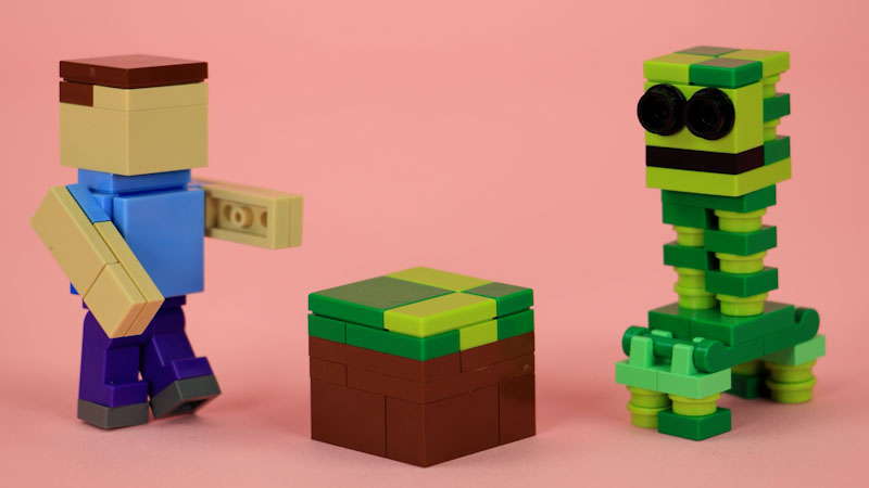 Still image from: How to Build LEGO Minecraft Creeper, Steve, and Grass Block