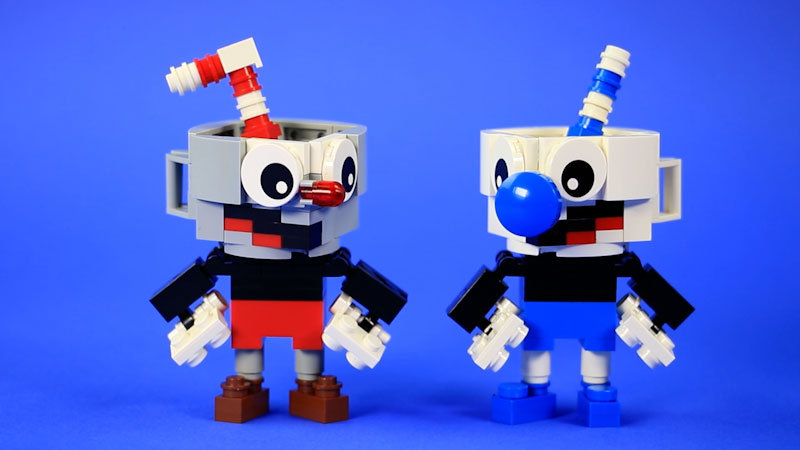 Still image from: How to Build LEGO Cuphead & Mugman