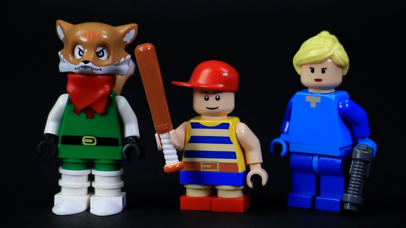 Still image from: How to Build LEGO Nintendo Characters (Fox, Samus, & Ness)