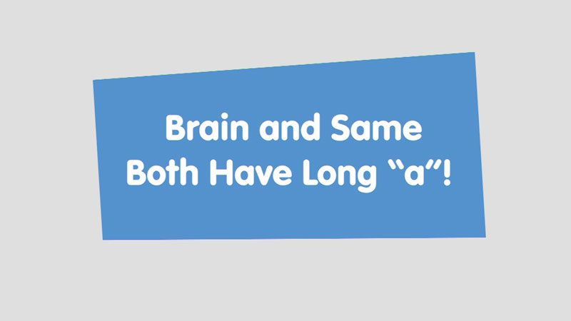 """Still image from: Let's Learn: Brain and Same Both Have Long """"a""""!"""