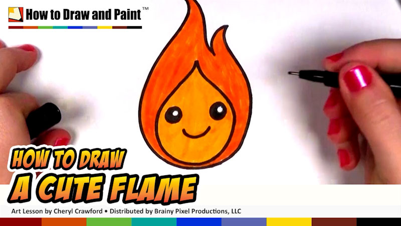 Still image from: How to Draw a Cute Flame for Kids