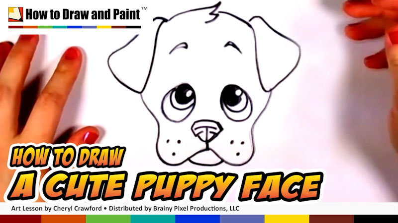 Still image from: How to Draw a Cute Puppy Face