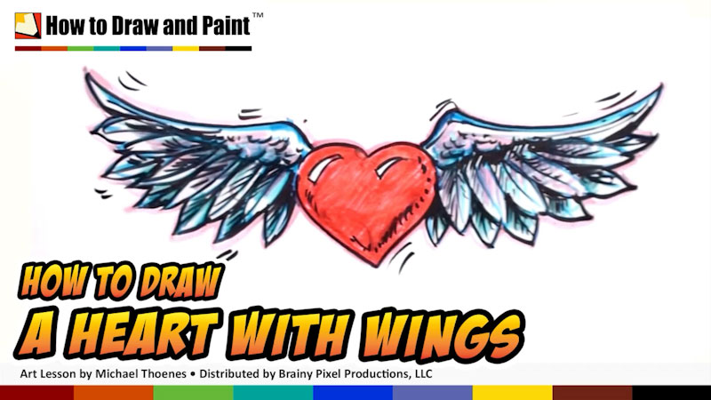 Still image from: How to Draw a Heart With Wings