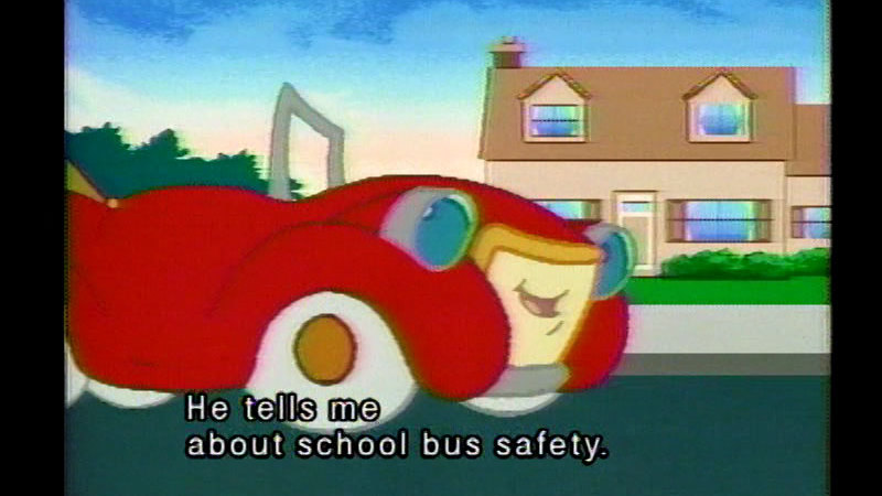 Still image from Otto the Auto on School Bus Safety
