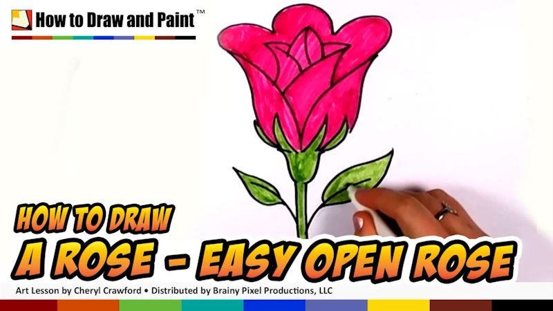 Still image from: How to Draw a Rose (Easy Open Rose)