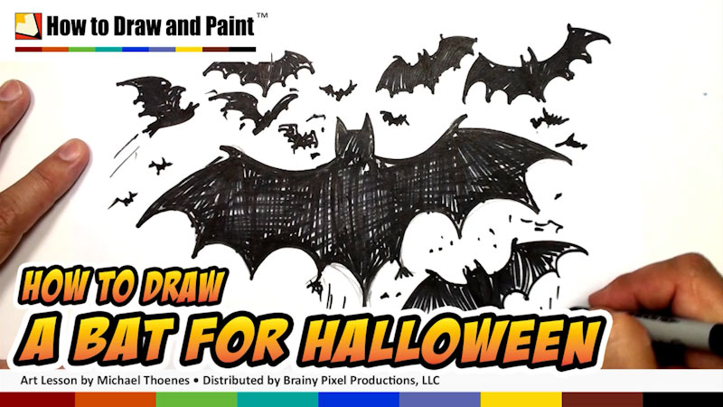 Still image from: How to Draw a Bat for Halloween
