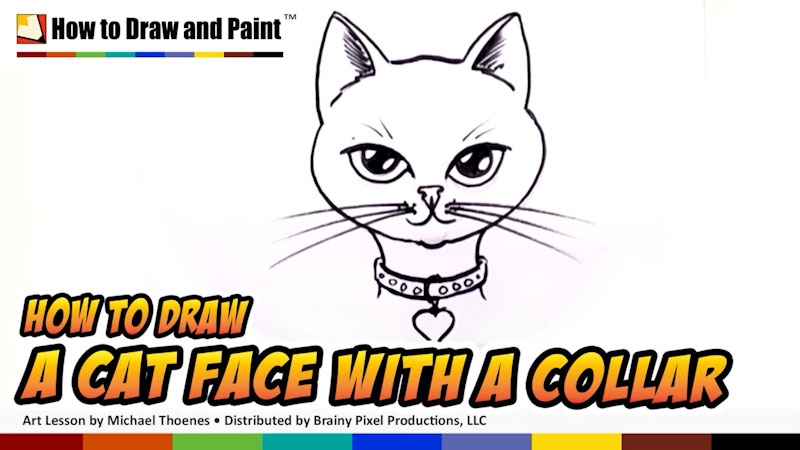 Still image from: How to Draw a Cat Face With a Collar