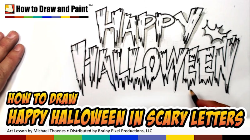 Still image from: How to Draw Happy Halloween in Scary Letters