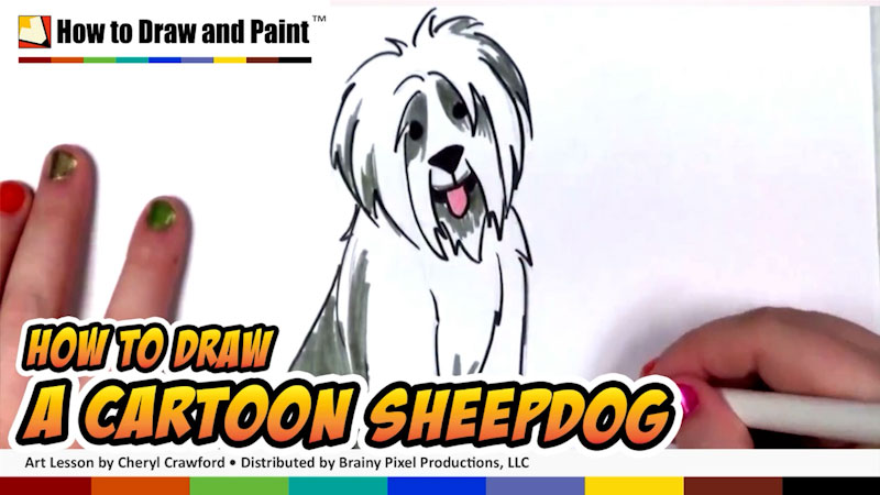 Still image from: How to Draw a Cartoon Sheepdog