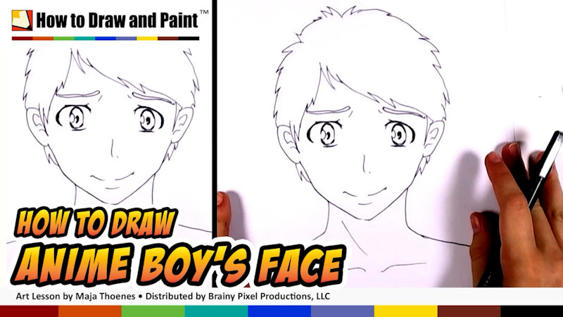 Still image from: How to Draw an Anime Boy's Face