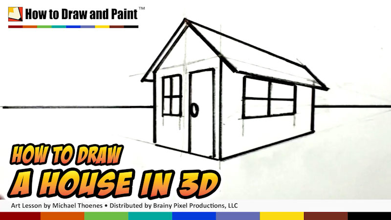 Still image from: How to Draw a House in 3-D