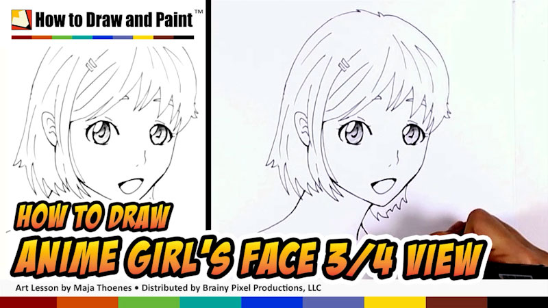 Still image from: How to Draw an Anime Girl's Face in Three-Fourths View
