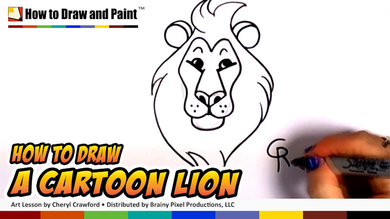 Still image from: How to Draw a Cartoon Lion