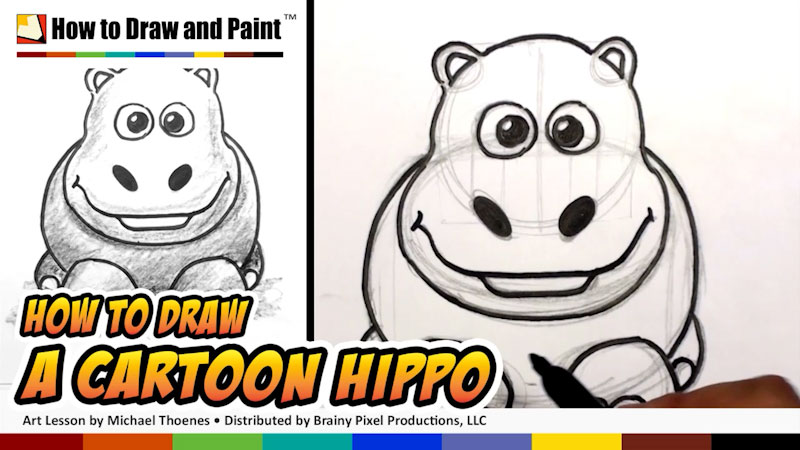 Still image from: How to Draw a Cartoon Hippo