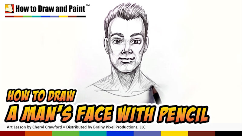 Still image from: How to Draw a Man's Face With Pencil