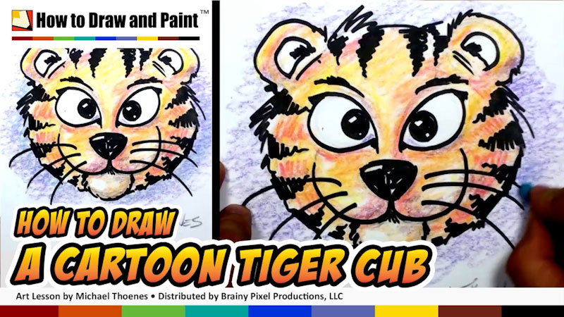 Still image from: How to Draw a Cartoon Tiger Cub