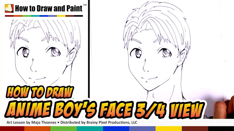 Still image from: How to Draw an Anime Boy's Face in Three-Fourths View