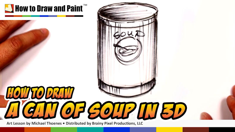 Still image from: How to Draw a Can of Soup in 3-D