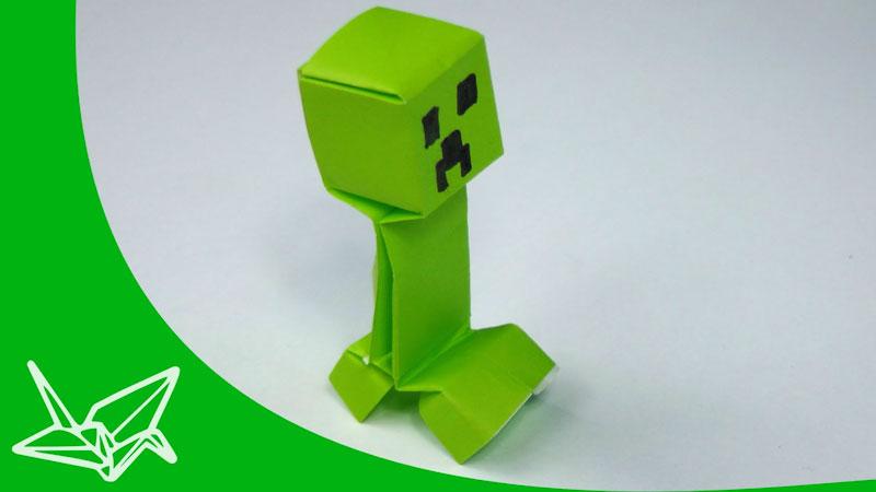 Still image from: Minecraft Origami Creeper