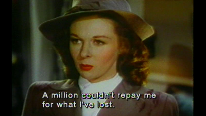 A well-groomed woman in a hat. Caption: A million couldn't repay me for what I've lost.