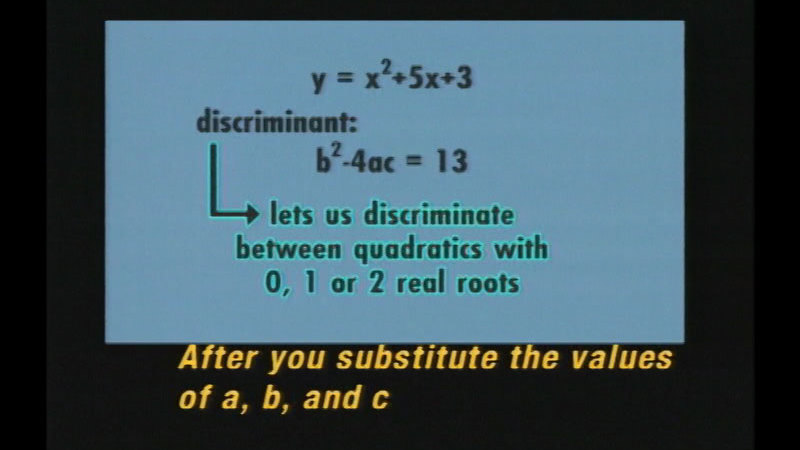 Still image from Algebra: The Quadratic Formula