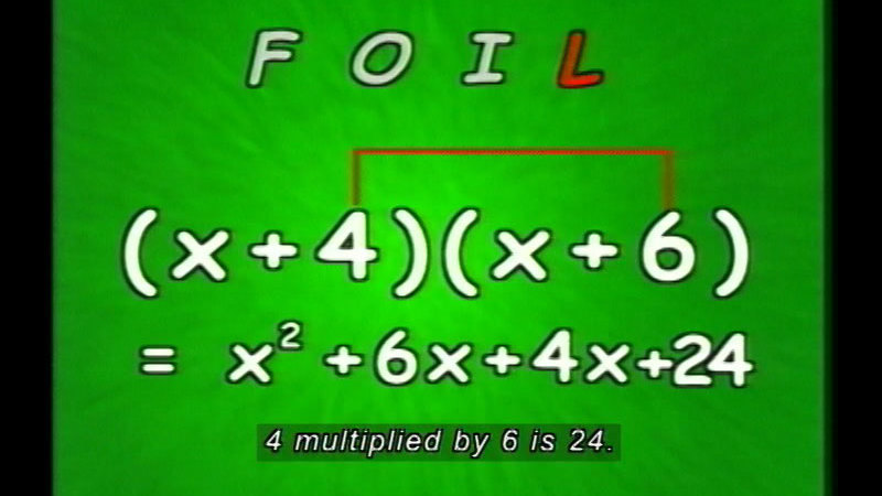 Still image from: Factoring Is Fantastic: Part Two--Quadratic Trinomials
