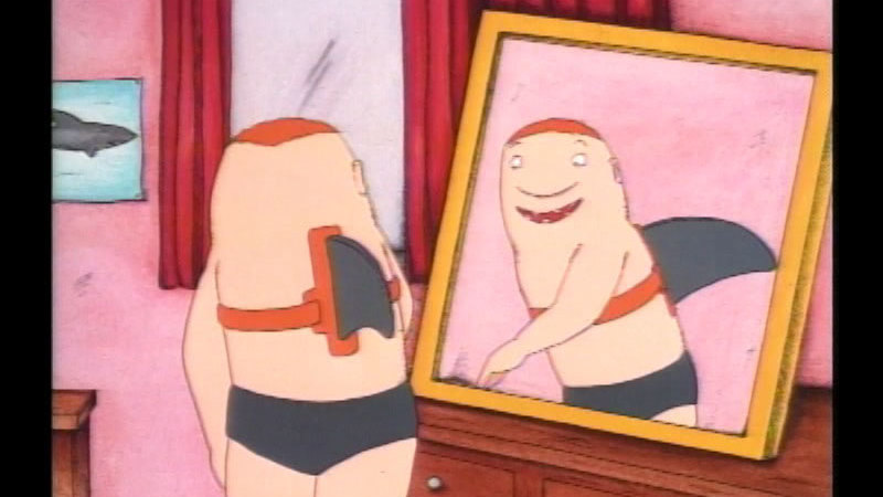 Cartoon of a person wearing a shark fin strapped to their back looking at themselves in the mirror.