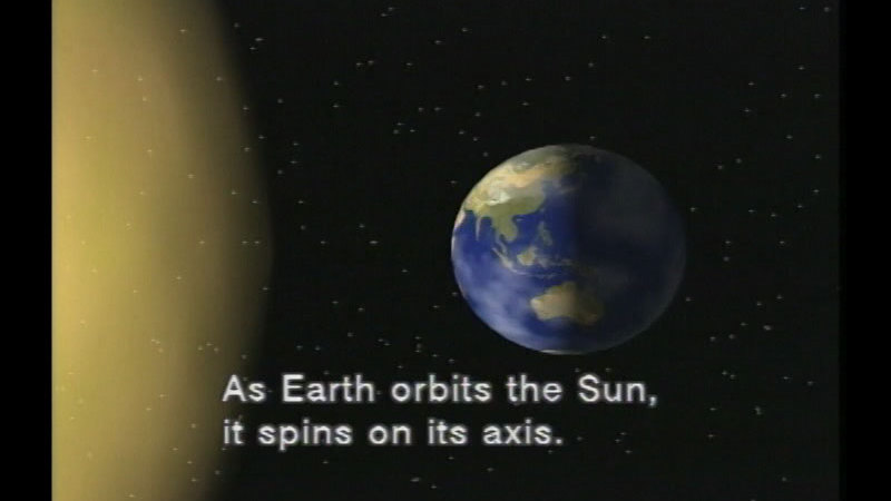 Illustration of the Earth in space. Caption: As Earth orbits the Sun, it spins on its axis.